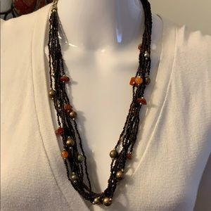 Beautiful Beaded brown, bronze gold necklace